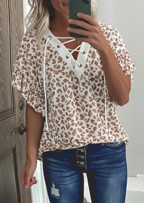 Leopard Lace Up Ruffled Flare Sleeve Blouse