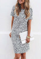 Leopard Polka Dot O-Neck Mini Dress