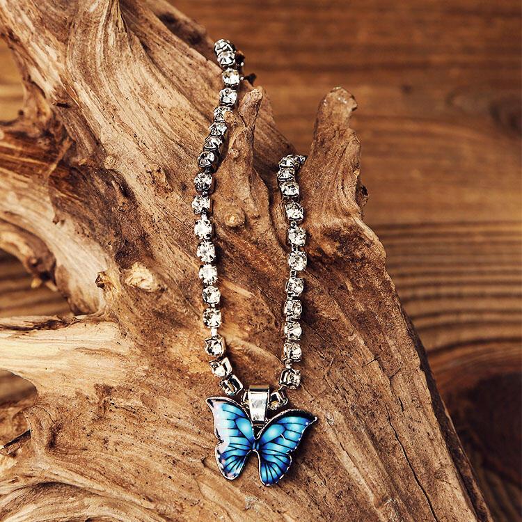 Shiny Butterfly Rhinestone Pendant Anklet - Silver