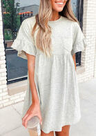 Ruffled Pocket Flare Sleeve Mini Dress