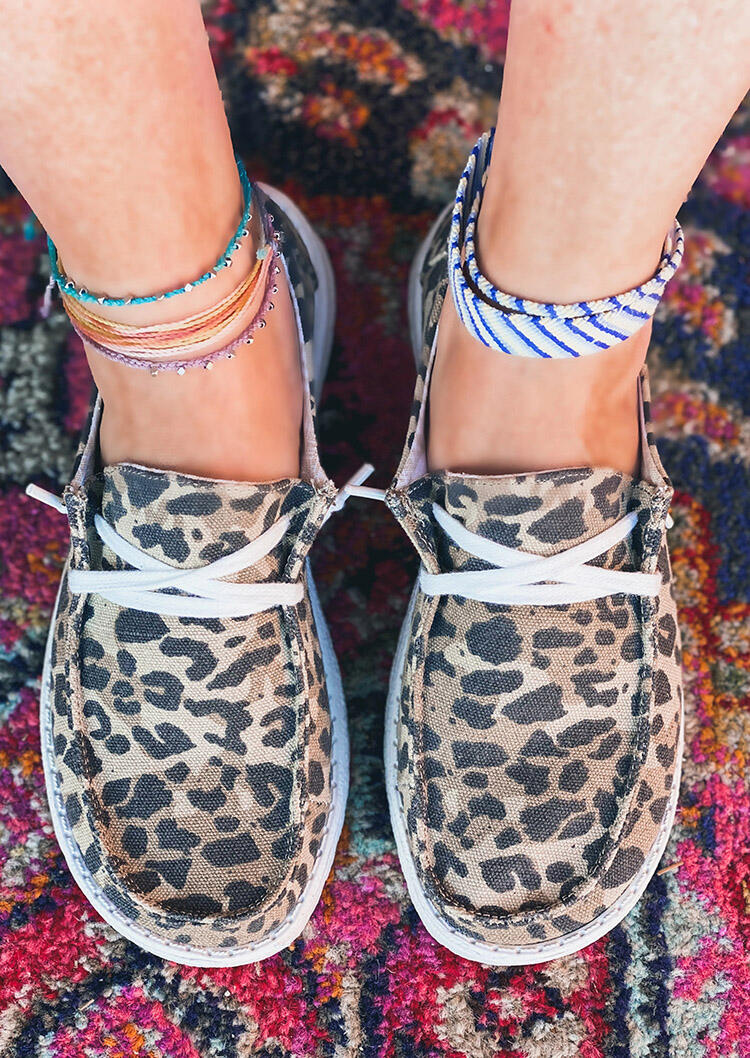 Leopard Lace Up Round Toe Flat Sneakers фото