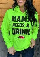 Mama Needs A Drink Kangaroo Pocket Hoodie