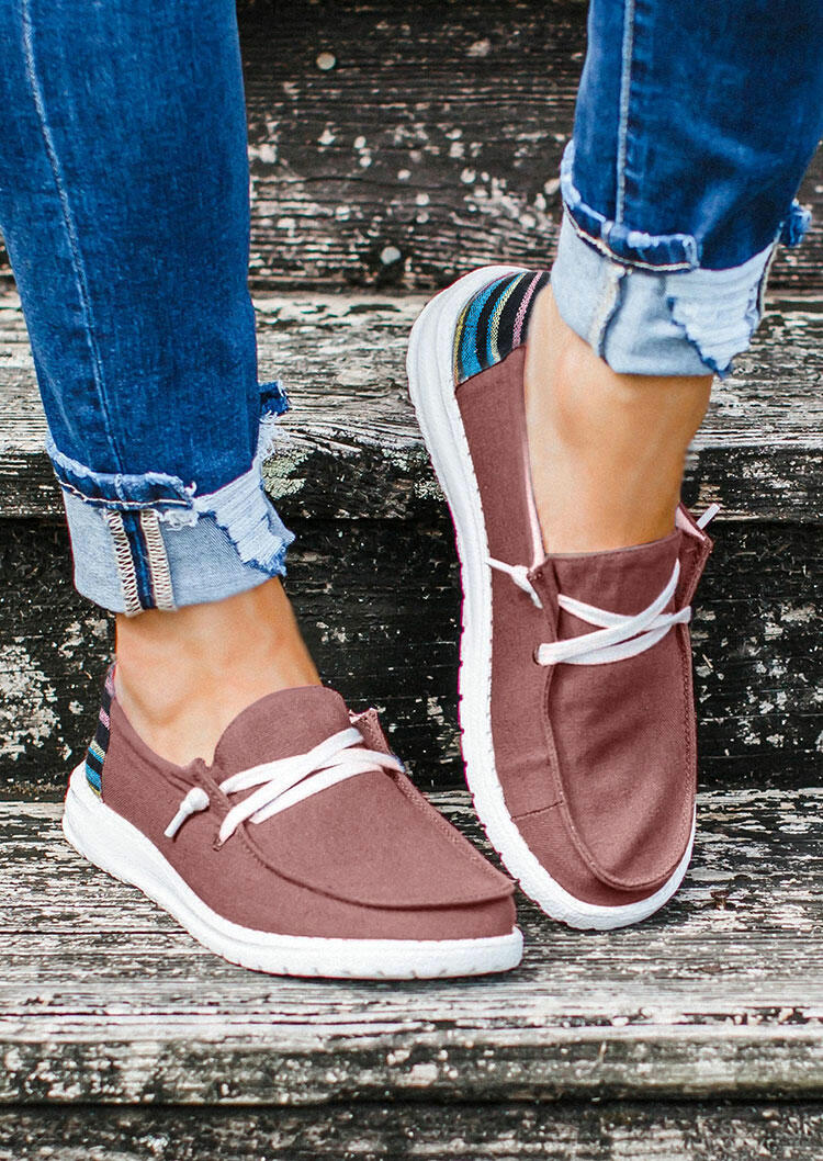 Colorful Striped Splicing Lace Up Flat Sneakers