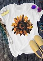 Leopard Sunflower O-Neck T-Shirt