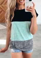 Color Block Twist T-Shirt Tee