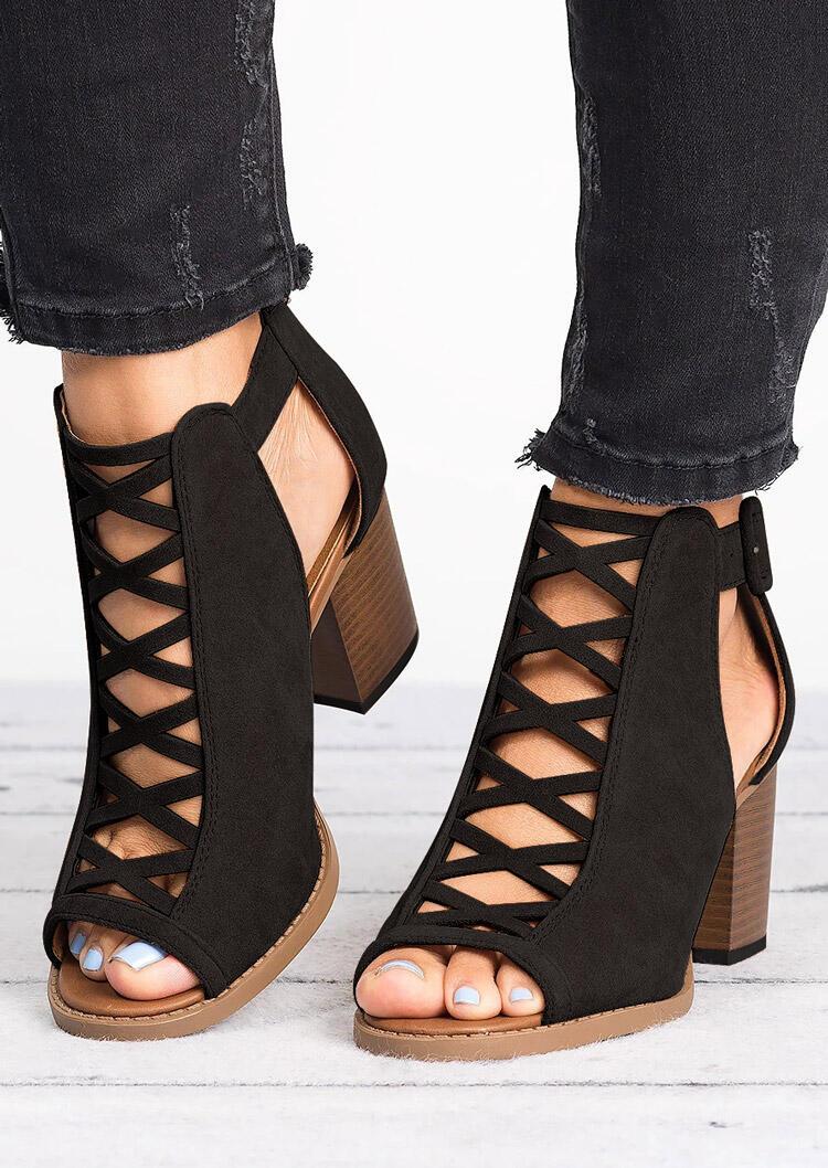 Criss Cross Peep Toe Heeled Sandals