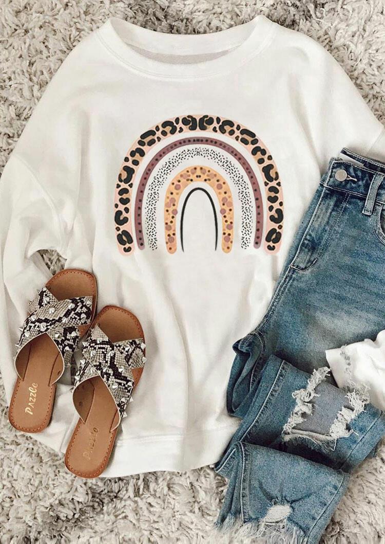 Leopard Rainbow Sweatshirt - White