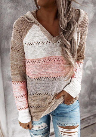 Color Block Hollow Out Drawstring Knitted Sweater - Pink