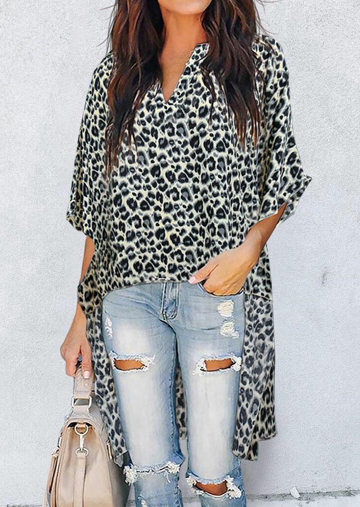 Fairyseason coupon: Leopard Batwing Sleeve Asymmetric Long Blouse