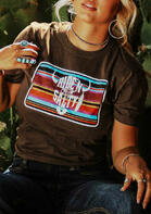 Colorful Striped Steer Skull Feather T-Shirt