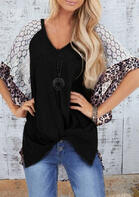 Leopard Lace Splicing Twist Blouse