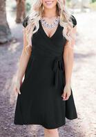 Ruffled Wrap V-Neck Mini Dress