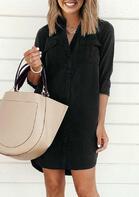 Button Pocket Slit Mini Dress
