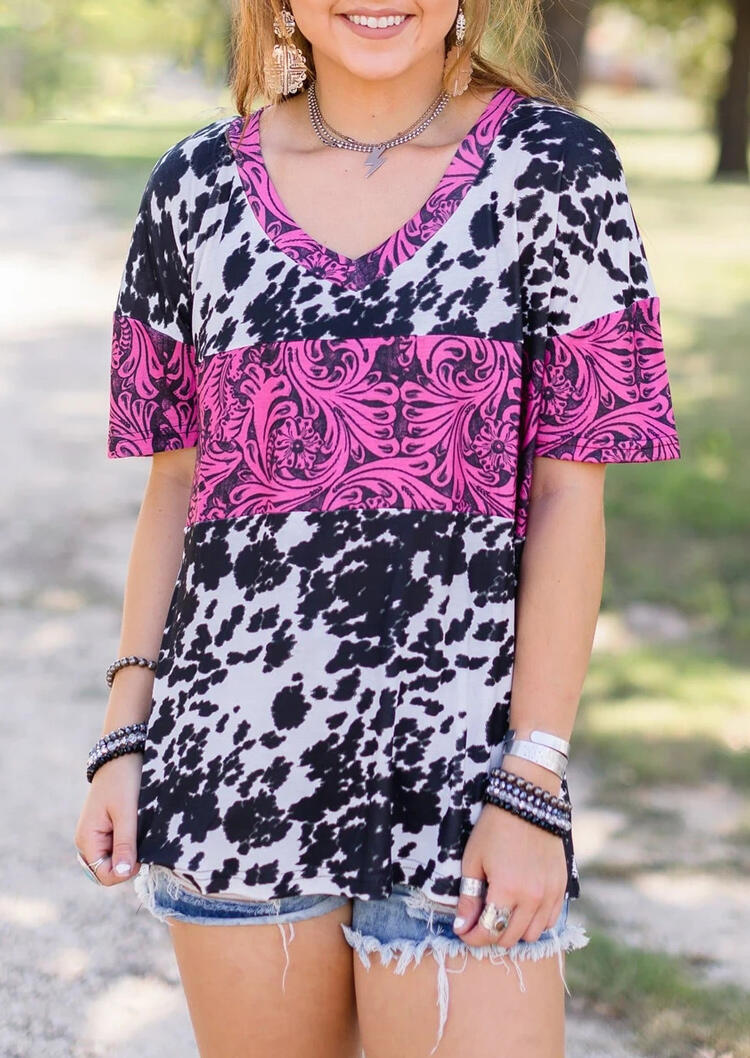 Tees T-shirts Cow Buckstitch Splicing T-Shirt Tee in Multicolor. Size: S,M,L,XL