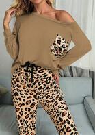 Leopard Pocket O-Neck T-Shirt