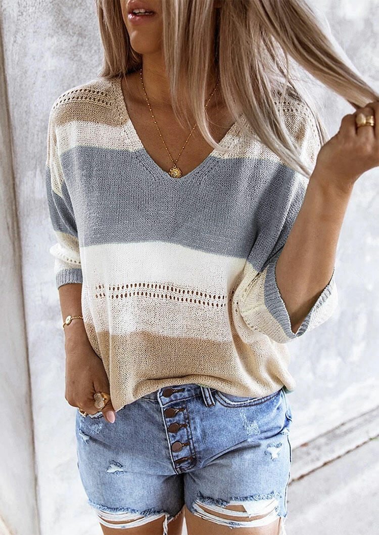 Color Block Cut Out Knitted Sweater - Gray thumbnail