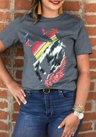 Western Cowboy Paisley Bronc T-Shirt