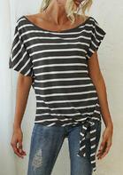 Striped Tie O-Neck Blouse - Dark Grey
