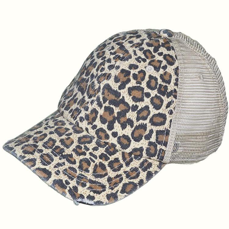 Leopard Mesh Criss-Cross Cut Out Baseball Cap