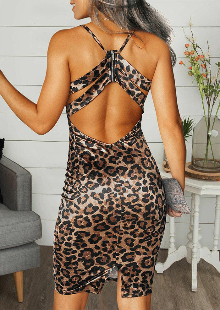 Bodycon Dresses Leopard Open Back Spaghetti Strap Bodycon Dress without Necklace in Leopard. Size: S,L фото