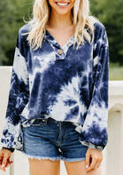 Tie Dye Button V-Neck Sweatshirt