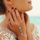 Hollow Out Carved Turquoise Bridal Slave Finger Bracelet