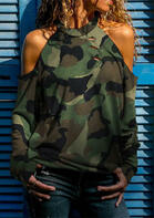 Camouflage Ripped Hole Cold Shoulder Blouse