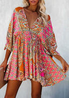Vintage Floral Mandala Cut Out Tie Mini Dress