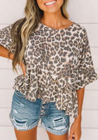 Leopard Ruffled O-Neck Blouse