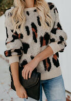 Leopard Long Sleeve O-Neck Sweater