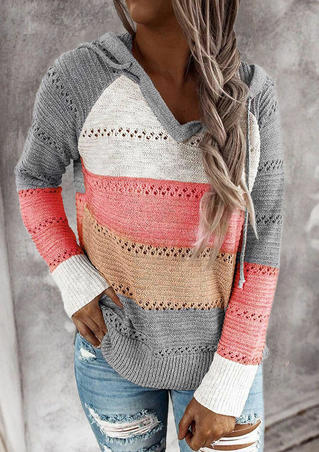 Color Block Hollow Out Drawstring Knitted Sweater - Gray