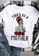 Mother Coffee Floral Skeleton Bowknot T-Shirt