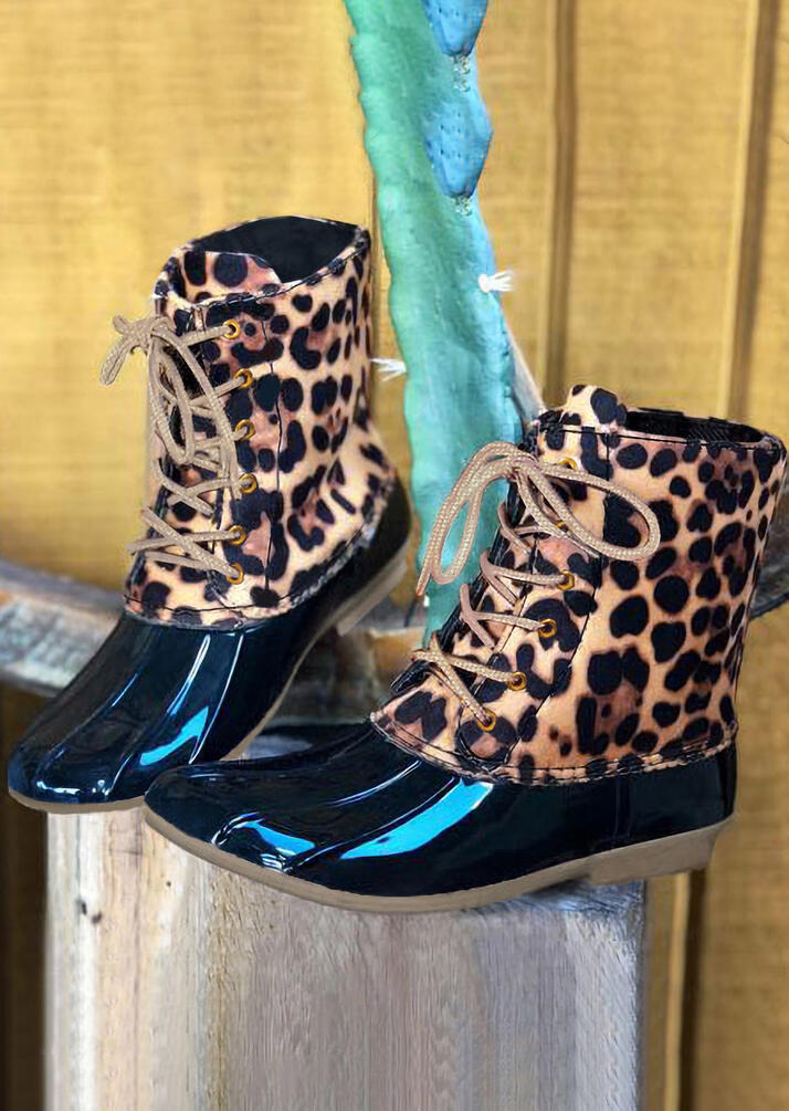 Leopard Waterproof Lace Up Duck Boots фото
