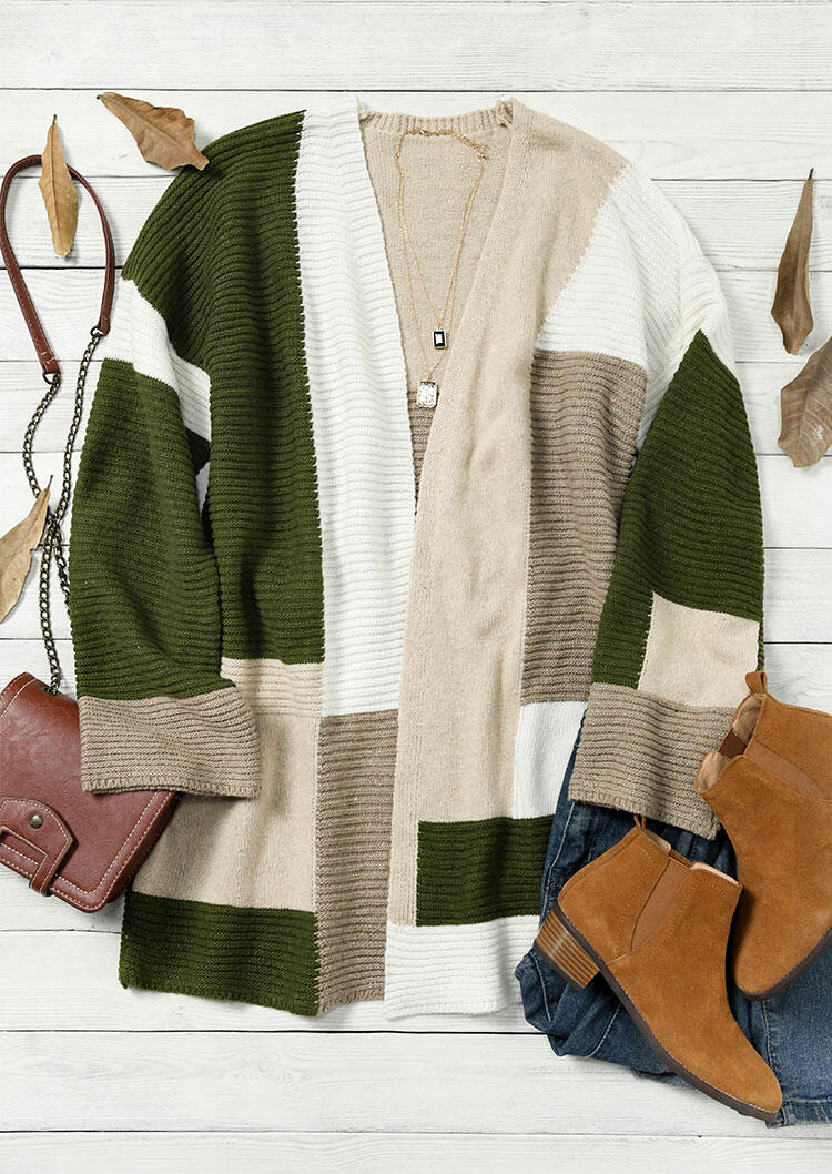 Color Block Knitted Sweater Cardigan - Green