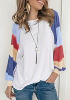 Color Block Striped Splicing Long Sleeve T-Shirt