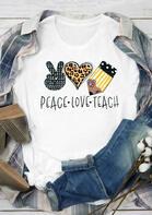 Leopard Peace Love Teach Striped T-Shirt