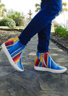 Colorful Striped Zipper Wedged Sneakers