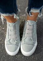 Elastic Band Flat Zipper Canvas Sneakers - Light Grey