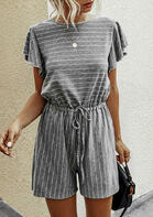 Striped Drawstring Tie Hollow Out Romper