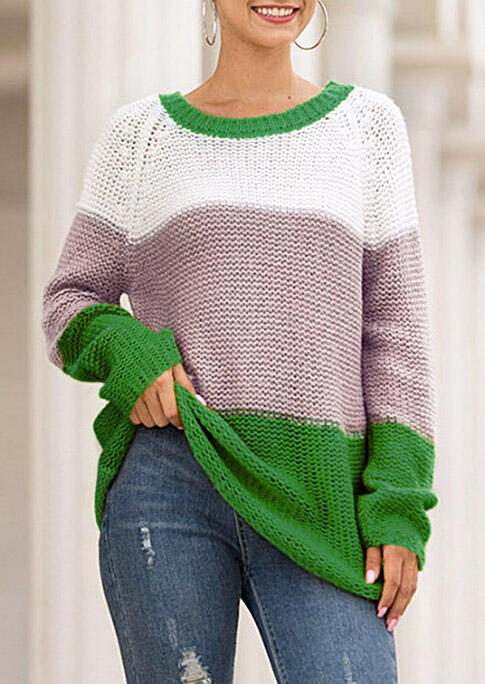 Color Block O-Neck Knitted Pullover Sweater - Green