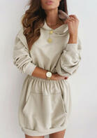 Elastic Waist Kangaroo Pocket Mini Hoodie Dress