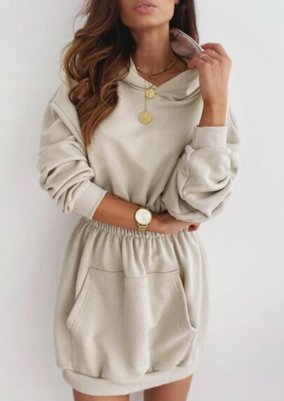 Elastic Waist Kangaroo Pocket Hooded Mini Dress - Apricot