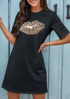 Leopard Lips O-Neck Mini Dress