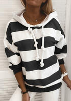 Striped Drawstring Long Sleeve Pullover Hoodie