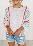 Striped Flare Sleeve Knitted Sweater