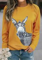 Funny Donkey Long Sleeve O-Neck Sweatshirt