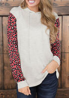 Color Block Leopard Splicing Hoodie