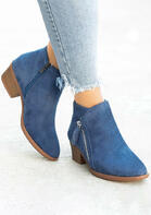 Zipper Round Toe Chunky Heel Ankle Boots