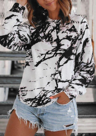 Tie Dye Ink Painting Raglan Sleeve Blouse - White