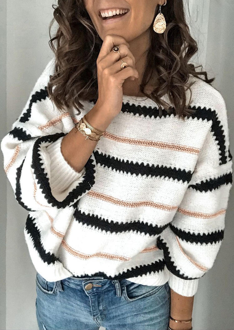 Striped Long Sleeve Pullover Sweater - White